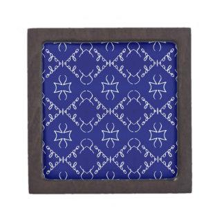 Deep Blue White Thin Geometric Pattern Gift Box