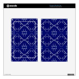 Deep Blue White Thin Geometric Pattern Kindle Fire Skins