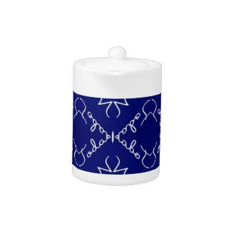 Deep Blue White Thin Geometric Pattern Teapot