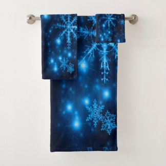 Deep Blue with Bright Snowflakes Towel Set