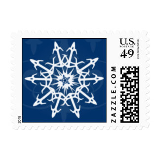 Deep Blue with White Snowflake Holiday Postage