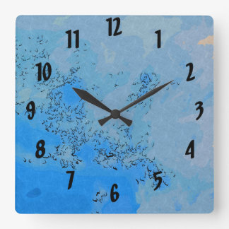 Deep Bluish Pastel Sky Square Wall Clock