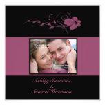 "Deep Blush Flowing Flower Photo Wedding Invitation 5.25"" Square Invitation Card"