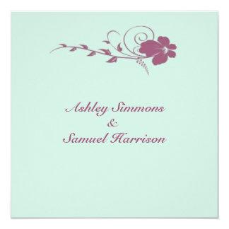 Deep Blush Flowing Flower Wedding Invitation