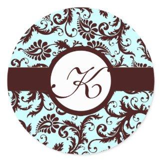 Deep Brown Damask Vintage Floral Wedding Stickers sticker