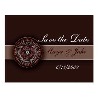 Deep brown Indian design Postcard