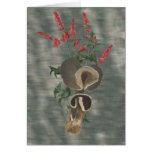 Deep Brown Mushrooms Red Flowers Card