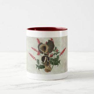 Deep Brown Mushrooms, Red Flowers Two-Tone Coffee Mug