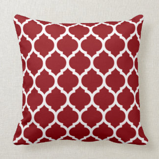 Deep Burgundy and White Quatrefoil Pattern Throw Pillow