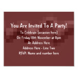 Deep Burgundy Red Abstract Squares Design. 4.25x5.5 Paper Invitation Card