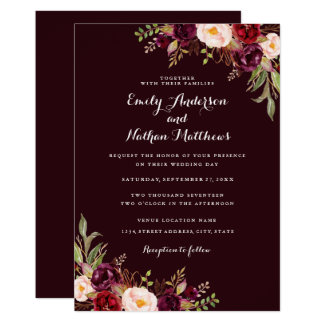 Deep Burgundy Red Floral Wedding Invitation