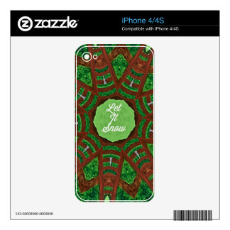 Deep Burnt Orange Green 'Let It Snow' Decals For The iPhone 4S