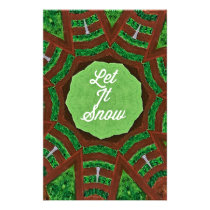 Deep Burnt Orange Green 'Let It Snow' Stationery