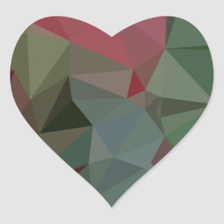 Deep Carmine Pink Abstract Low Polygon Background Heart Sticker