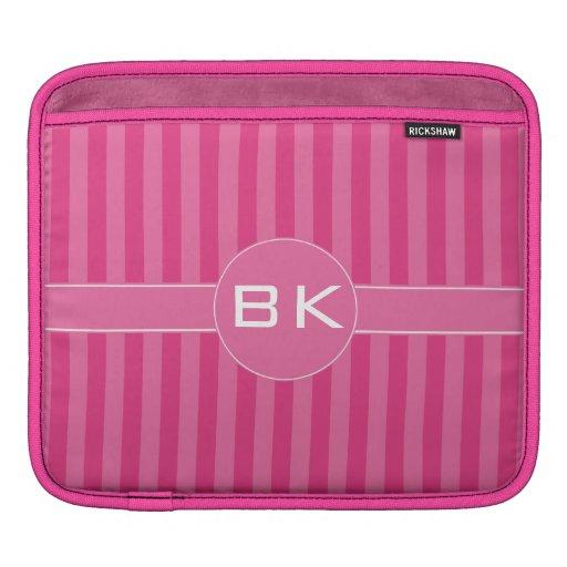 Deep Cerise and Dark Pink Stripes iPad Sleeve