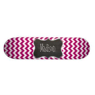 Deep Cerise Chevron; Retro Chalkboard look Skate Board