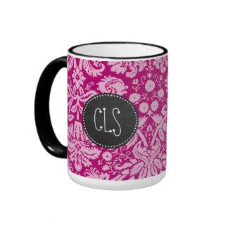 Deep Cerise Damask; Vintage Chalkboard look Ringer Coffee Mug