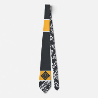 Deep Charcoal with White and Yellow Monogram Neck Tie