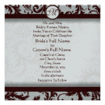 Deep Chocolate Brown Damask Wedding Invitation