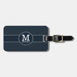 Deep Classic Navy Blue Custom Monogram Luggage Tag