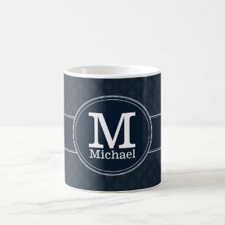 Deep Classic Navy Blue Pattern Custom Monogram Classic White Coffee Mug