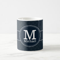 Deep Classic Navy Blue Pattern Custom Monogram Coffee Mug