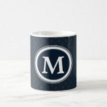 Deep Classic Navy Blue Pattern Custom Monogram Coffee Mug