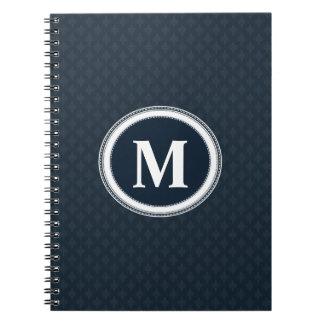 Deep Classic Navy Blue Pattern Custom Monogram Notebook