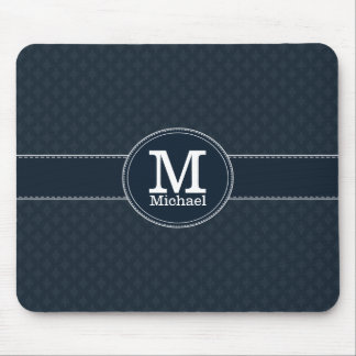 Deep Classic Navy Blue With Custom Monogram Mouse Pad