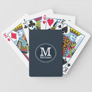 Deep Classic Navy Custom Monogram Playing Cards
