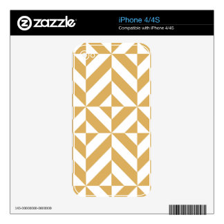 Deep Cool Gold Geometric Deco Cube Pattern Decal For The iPhone 4S
