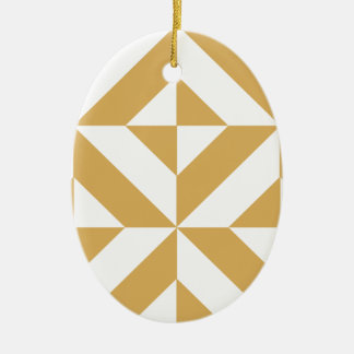 Deep Cool Gold Geometric Deco Cube Pattern Christmas Ornament