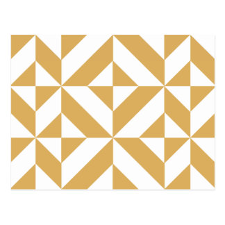 Deep Cool Gold Geometric Deco Cube Pattern Postcard