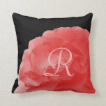 "Deep Coral Rose Petals Monogram 16"" Square Pillow"