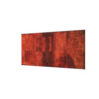 Deep Crimson Painting with Geometric Shapes Canvas Print
