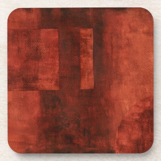 Deep Crimson Painting with Geometric Shapes Coaster