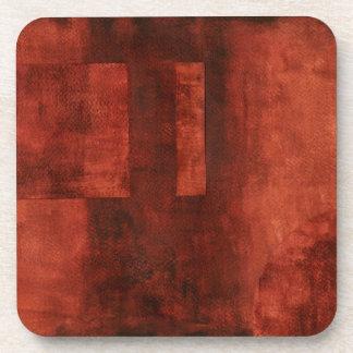 Deep Crimson Painting with Geometric Shapes Coaster