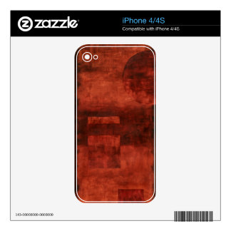 Deep Crimson Painting with Geometric Shapes iPhone 4S Skin