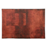Deep Crimson Painting with Geometric Shapes Cloth Placemat