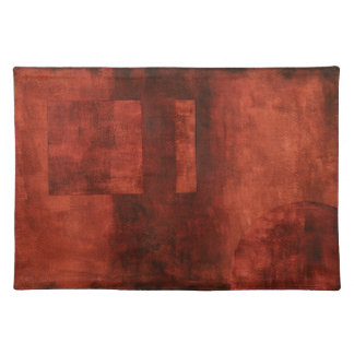 Deep Crimson Painting with Geometric Shapes Placemat