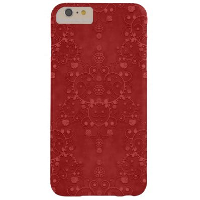 Deep Crimson Red Fancy Floral Damask Pattern Barely There iPhone 6 Plus Case