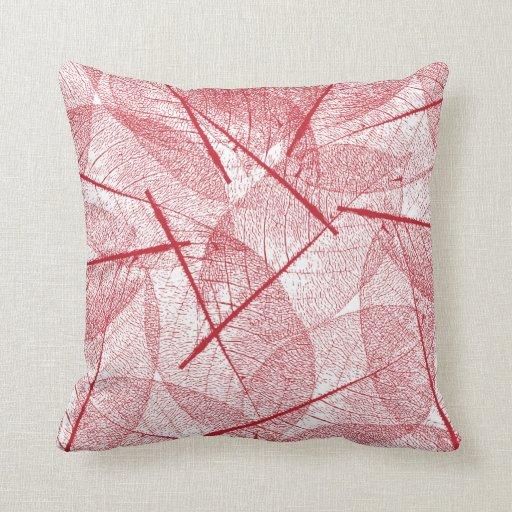 Red Design Throw Pillows : Deep Dark Red Vein Leaf Design Throw Pillow Zazzle
