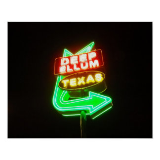 Deep Ellum Texas sign at night Poster