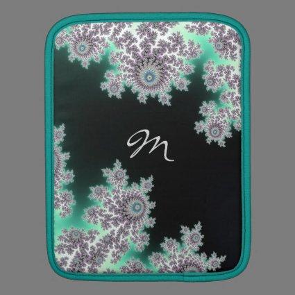 Deep Forest Green Fractal Monogram Sleeve iPad Sleeve