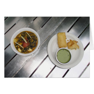 Deep fried Panner Cheese and spinach curry Greeting Card