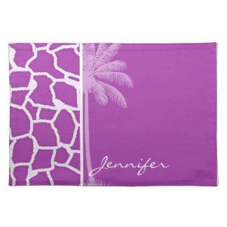 Deep Fuchsia Giraffe Animal Print Palm Placemat
