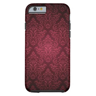 Deep fuschia pink damask pattern iphone 6 case