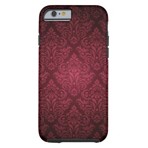 Deep fuschia pink damask pattern iphone 6 case