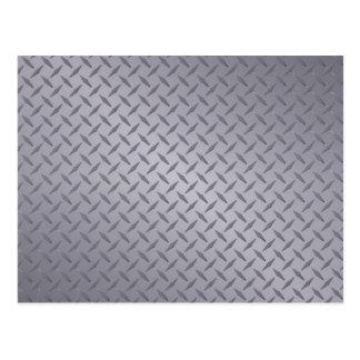 Deep Gray Steel Diamondplate Background Postcard