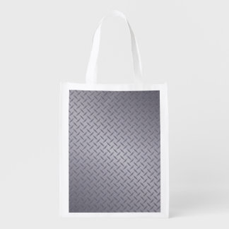 Deep Gray Steel Diamondplate Background Reusable Grocery Bags